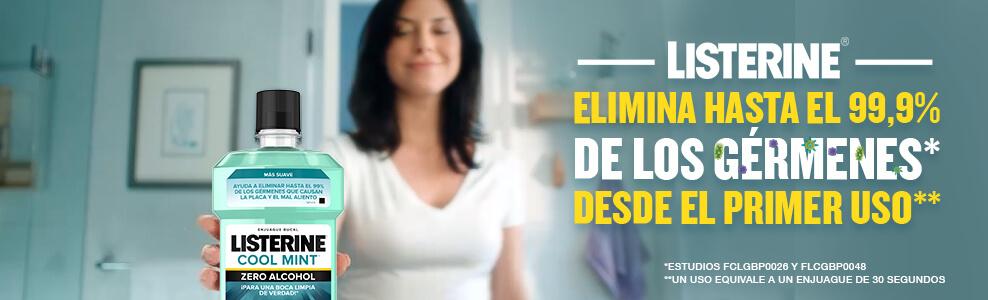 LISTERINE® elimina hasta el 99% de los gérmenes desde el primer uso